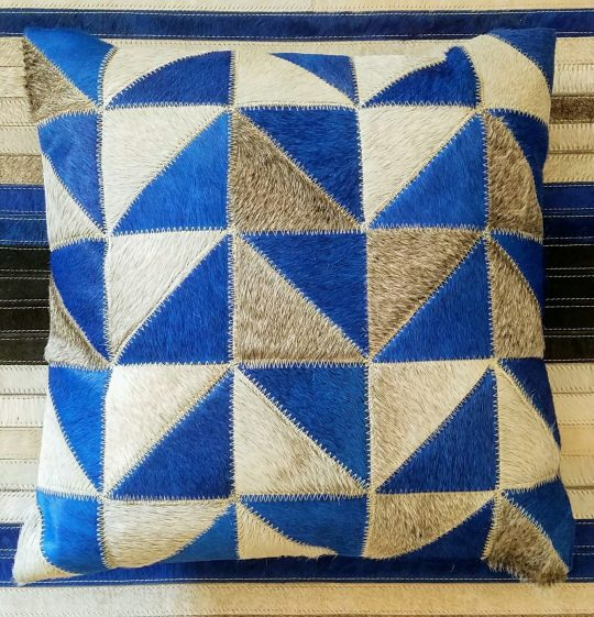 Vibrant Blue Grey Triangles Cushion Cover - hide cushion cover by The Cinnamon Room