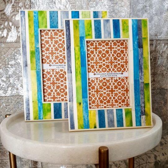 Blue Green Stripe Bone Inlay Photo Frame - Colourful photo farmes by The Cinnamon Room