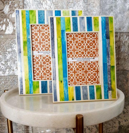 Blue Green Stripe Bone Inlay Photo Frame - Colourful photo farmes by The Cinnamon Room