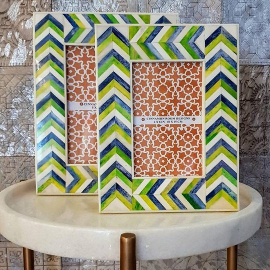 Green Blue Chevron Bone Inlay Photo Frame - Colourful photo frames by The Cinnamon Room
