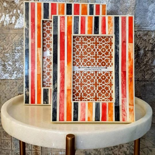 Red Orange Grey Stripe Bone Inlay Photo Frame - Stunning colourful photo frames by The Cinnamon Room