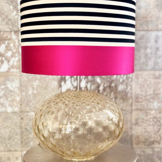 Glass Table Lamp With Designers Guild Contrast Lamp Shade - Beautiful home accessories by The Cinnamon Room