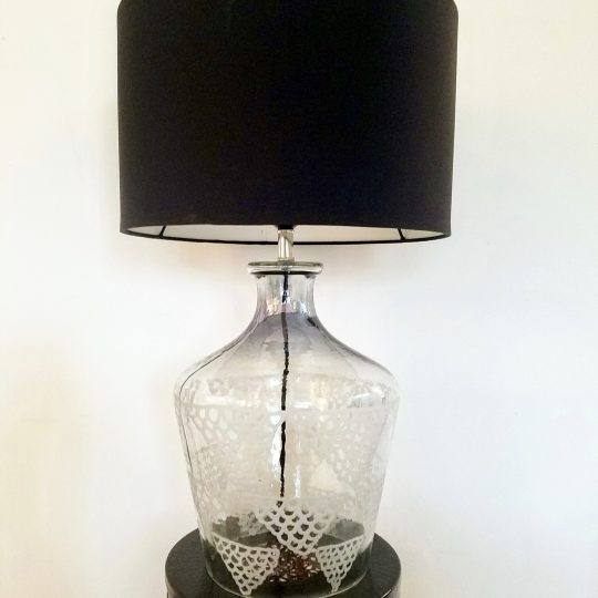 Etched Glass Table Lamp With Black Lamp Shade - Beautiful bespoke table lamps by The Cinnamon Room