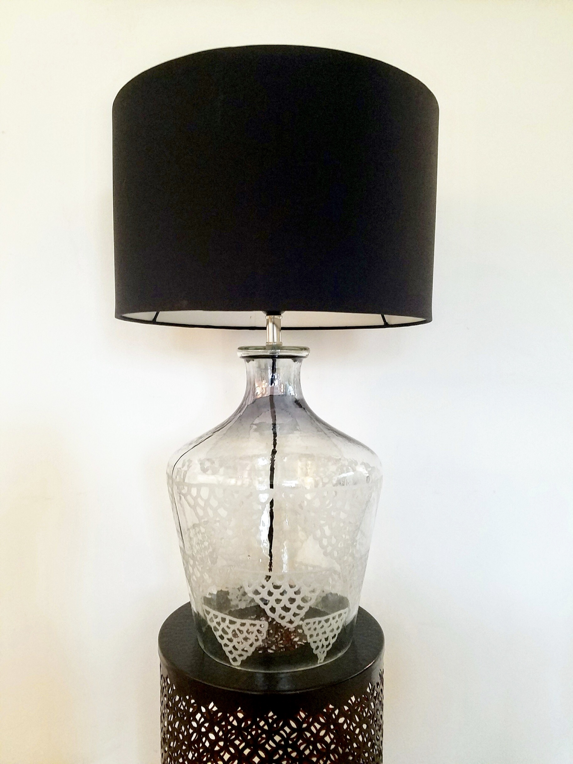 Picture of: Etched Glass Table Lamp With Black Lamp Shade Beautiful Bespoke Table Lamps By The Cinnamon Room