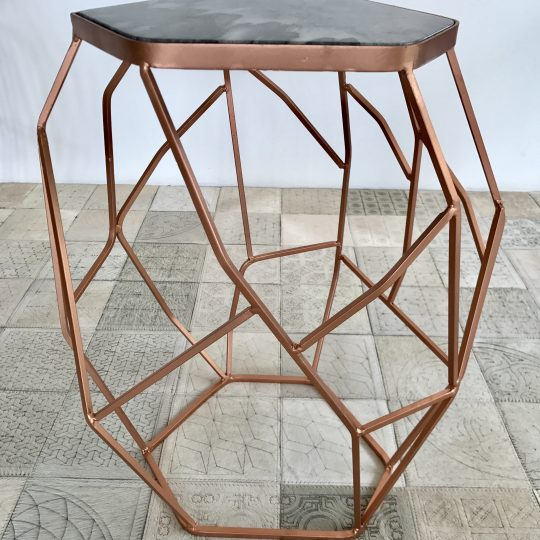 Marble Top Asymmetric Copper Side Table - stunning occasional tables by The Cinnamon Room