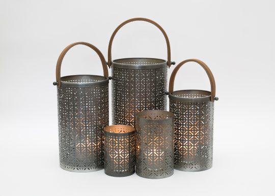 Silver Modern Hurricane Lantern Set - stunning contemporary lanterns by The Cinnamon Room