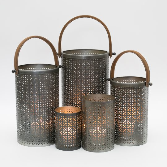Silver Modern Hurricane Lantern Set - stunning contemporary lanterns by The Cinnamon Room