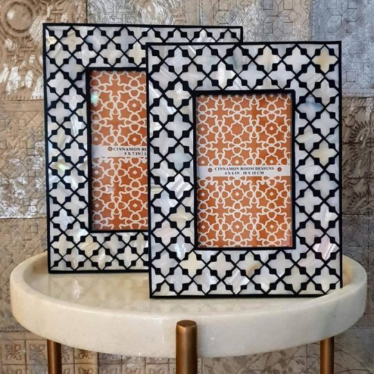 Mother Of Pearl Black & White Diamond Photo Frame - Stunning photo frames by The Cinnamon Room