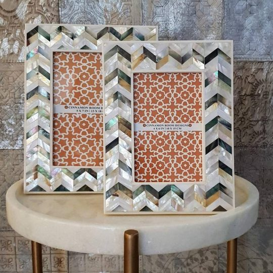 Mother Of Pearl White Gold Silver Chevron Photo Frame - beautiful home accessories by The Cinnamon Room