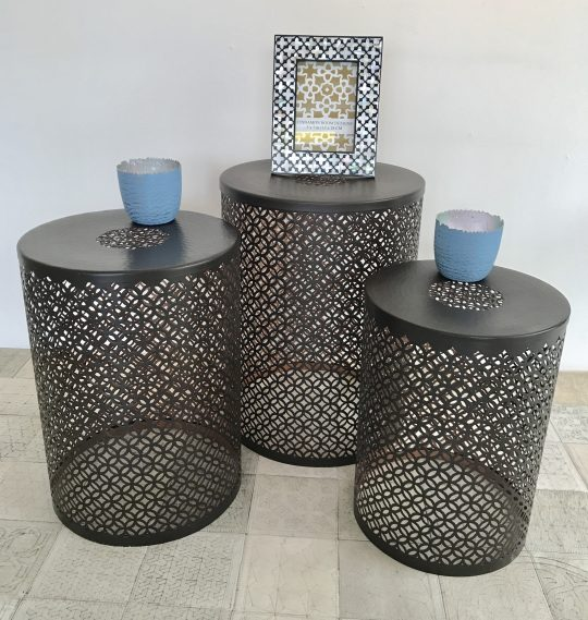 Nested Laser Etched Copper Side Tables - stunning stackable side tables by The Cinnamon Room