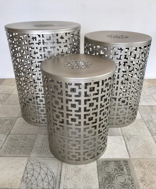 Nested Laser Etched Silver Side Tables - stackable side tables by The Cinnamon Room