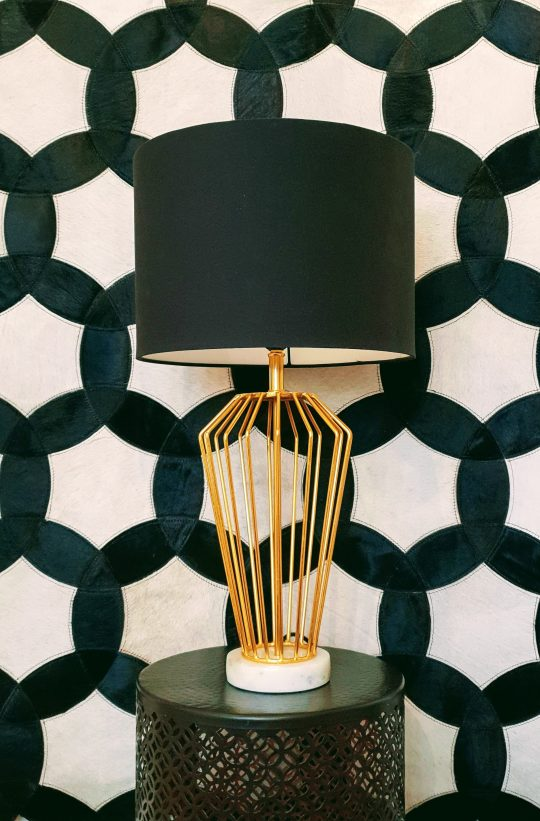 Gold Marble Table Lamp With Black Lamp Shade - Beautiful table lamps by The Cinnamon Room