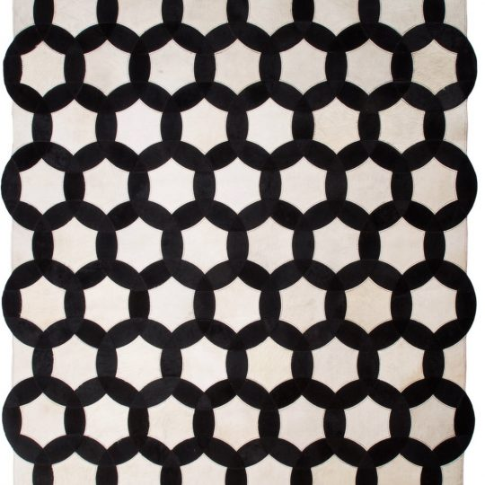 Monochrome Black and White Circle Hide Rug - black and white rug by The Cinnamon Room