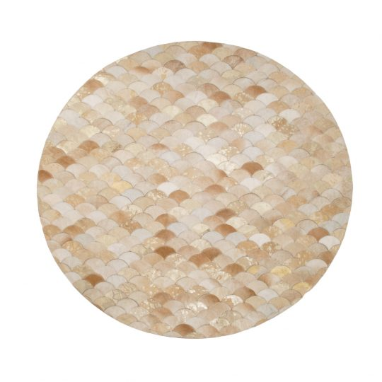 Round Beige Gold Mermaid Hide Rug - round carpets by The Cinnamon Room
