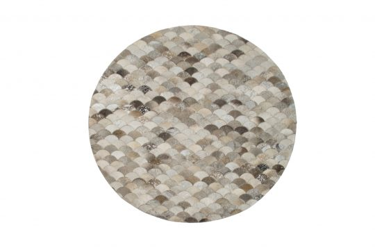 Round Grey Silver Mermaid Hide Rug - Stunning Round Carpets by The Cinnamon Room