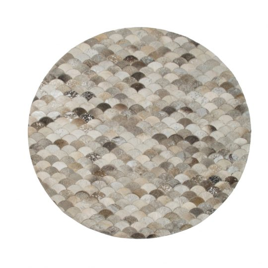 Round Grey Silver Mermaid Hide Rug - Stunning Round Carpets by The Cinnamon Room