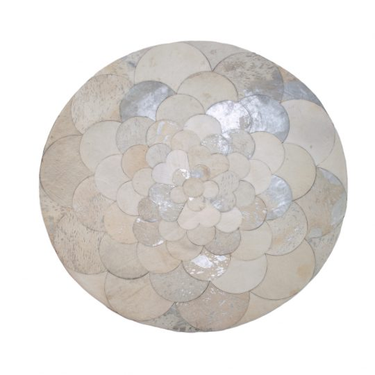Round White Silver Flower Hide Rug - round carpets by The Cinnamon Room