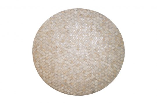 Round White Silver Geometric Hide Rug - round carpets by The Cinnamon Room