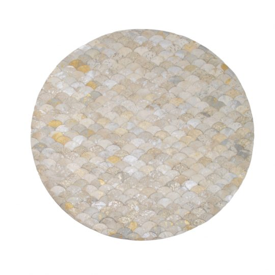 Round White Silver Gold Mermaid Hide Rug - round carpets by The Cinnamon Room