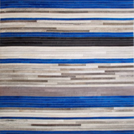 Vibrant Blue Black Grey Stripe Hide Rug - striped carpet by The Cinnamon Room