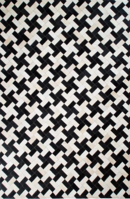 Monochrome Black and White Dogstooth Hide Rug - black and white carpets by The Cinnamon Room