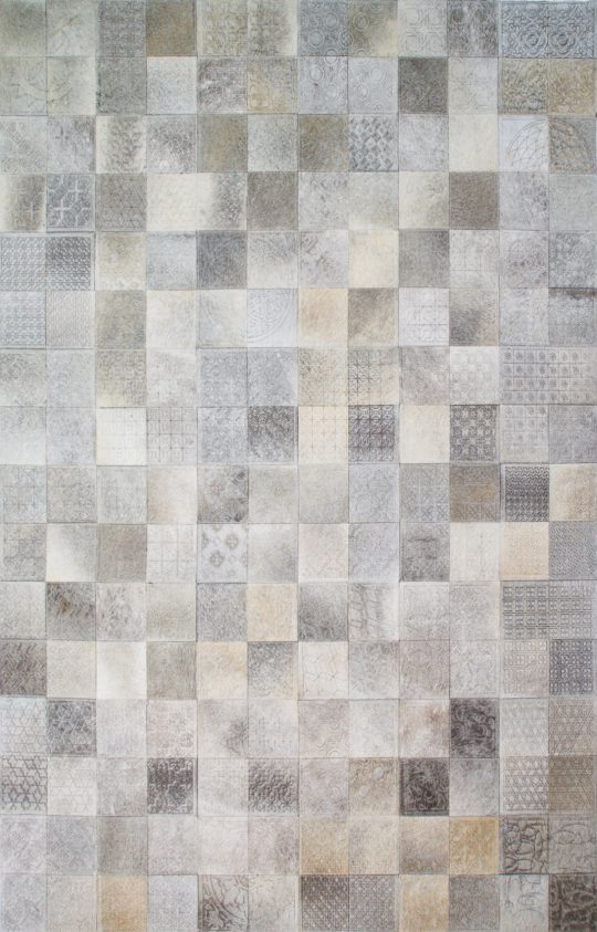 Neutral Grey Square Laser Etched Hide Rug by The Cinnamon Room