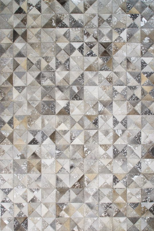 Neutral Grey Silver Geometric Hide Rug - neutral rugs by The Cinnamon Room