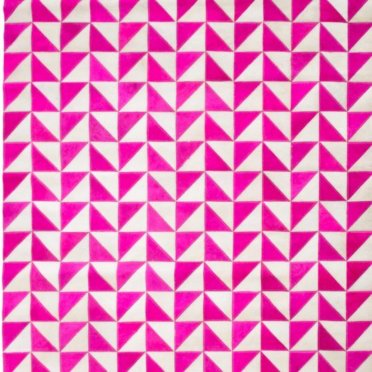 Vibrant Pink White Triangle Hide Rug - colourful rugs by The Cinnamon Room