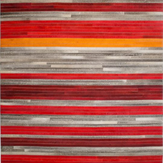Vibrant Red Orange Grey Stripe Hide Rug - colourful striped rug by The Cinnamon Room