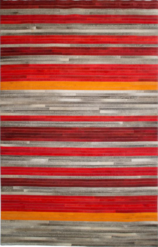 Vibrant Red Orange Grey Stripe Hide Rug - colourful striped rug by The Cinnamon Room