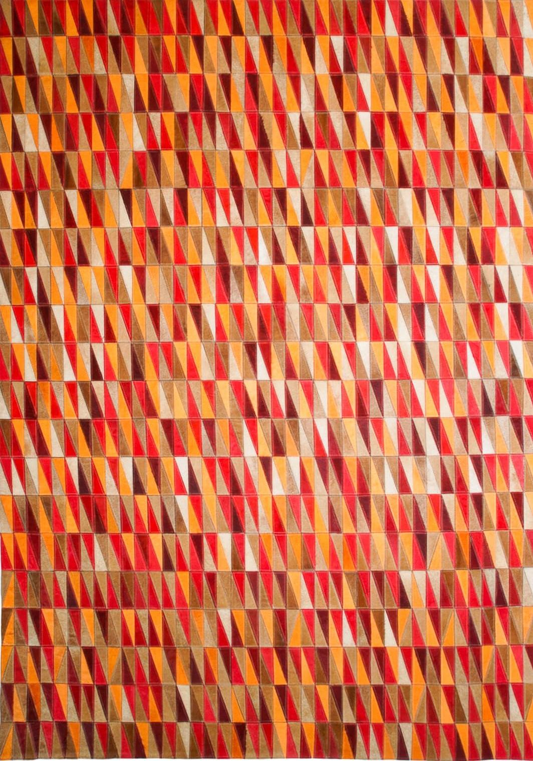 Vibrant Red Orange Tan Triangle Hide