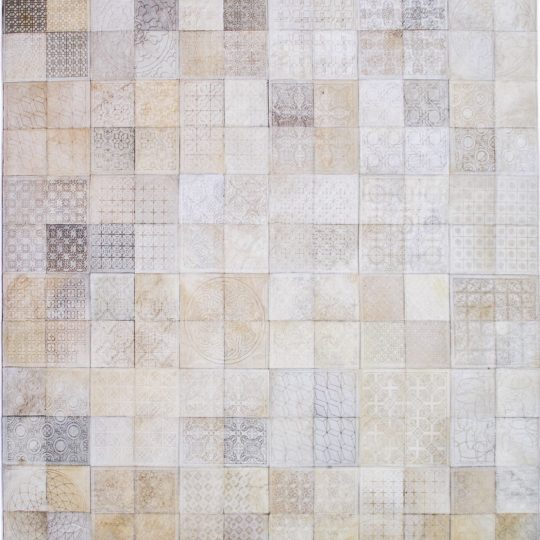 Neutral White Square Laser Etched Hide Rug by The Cinnamon Room