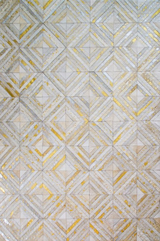 Neutral Gold Silver Diamond Hide Rug - neutral rug by The Cinnamon Room