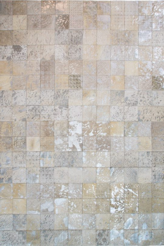 Neutral White Silver Square Laser Etched Hide Rug by The Cinnamon Room