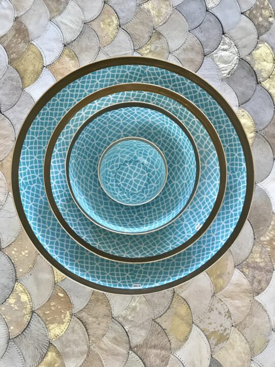 Turquoise Geo Enamelled Aluminium Bowl - Beautiful serving bowls by The Cinnamon Room