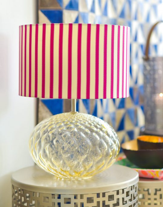 Glass Table Lamp With Designers Guild Pink Striped Lamp Shade - Gorgeous home accessories by The Cinnamon Room