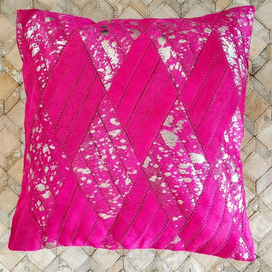 Vibrant Pink Silver Cushion Cover - colourful cushion covers by The Cinnamon Room