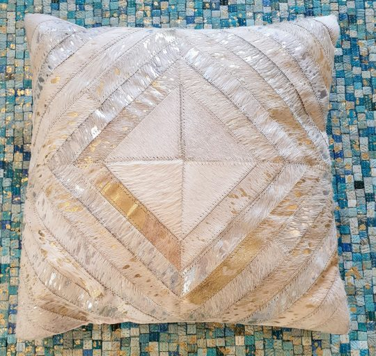 Neutral Gold Silver Diamond Cushion Cover - hide cushion covers by The Cinnamon Room