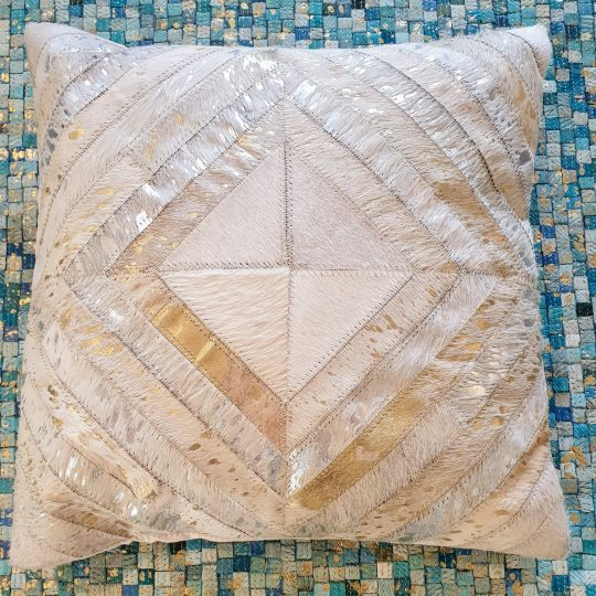 Neutral Gold Silver Diamond Cushion Cover - hide cushion covers by The Cinnamon Room