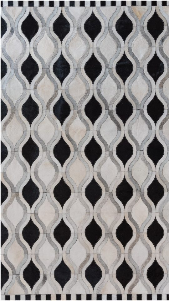 Monochrome Black & White Wave Hide Rug - black and white rug by The Cinnamon Room