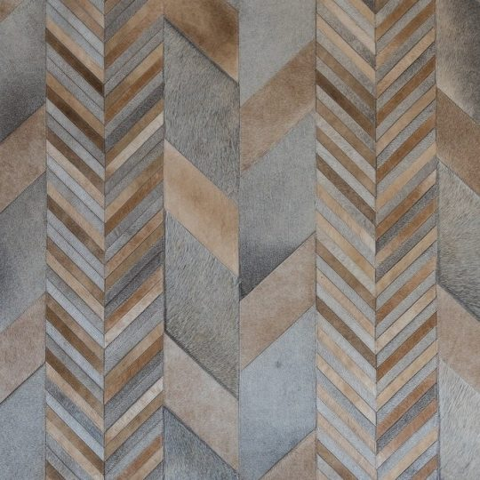 Neutral Grey Beige Chevron Hide Rug by The Cinnamon Room