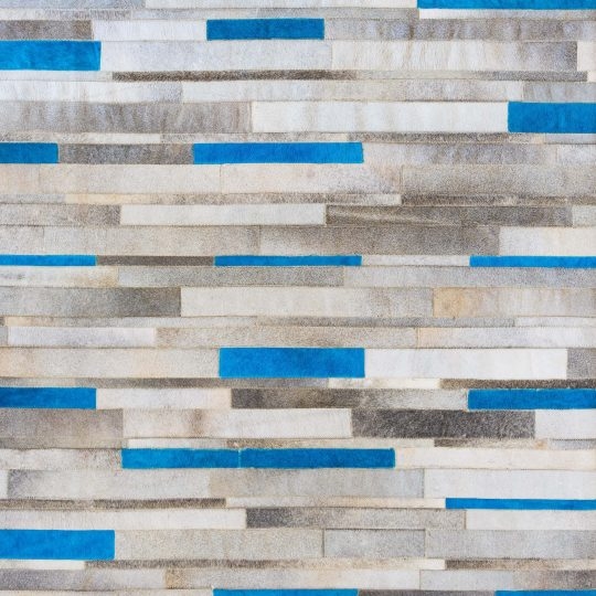 Vibrant Blue Grey Stripe Hide Rug - stunning low pile rug by The Cinnamon Room