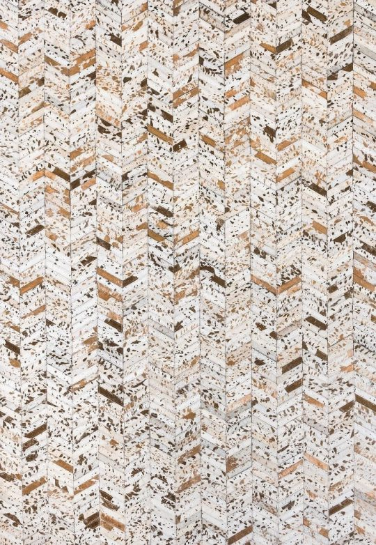 Neutral White Copper Herringbone Hide Rug by The Cinnamon Room