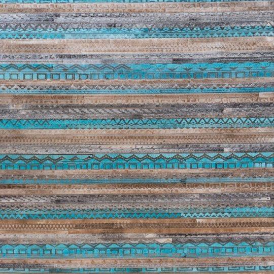 Vibrant Blue Beige Tribal Laser Etched Hide Rug - Tribal design rug by The Cinnamon Room