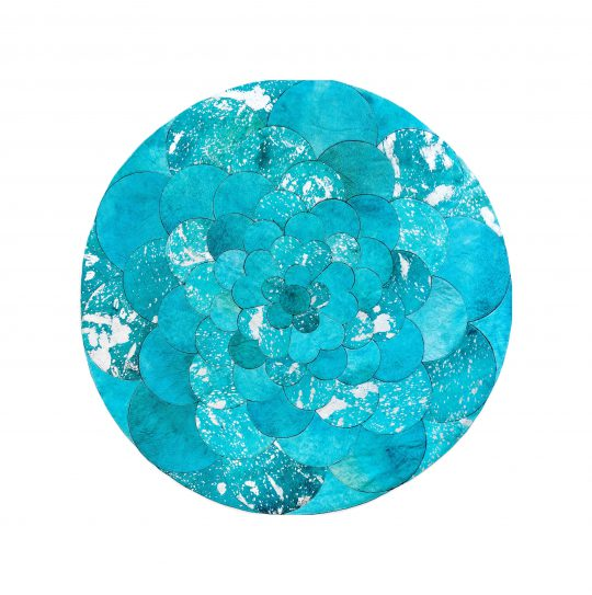 Round Turquoise Silver Flower Hide Rug - round carpets by The Cinnamon Room
