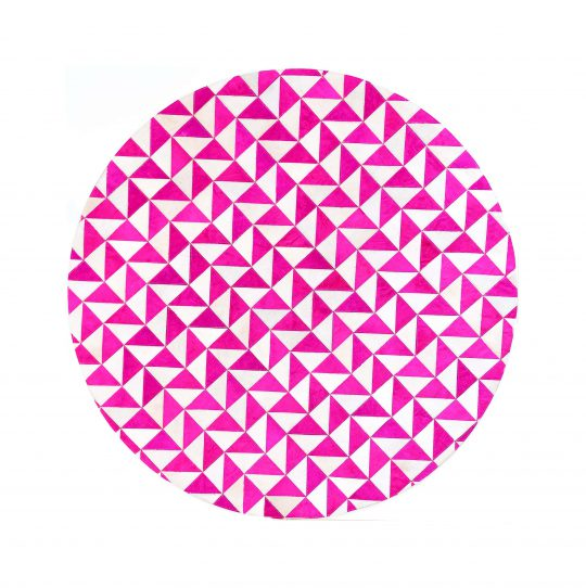 Round Pink White Triangle Hide Rug - round carpets by The Cinnamon Room