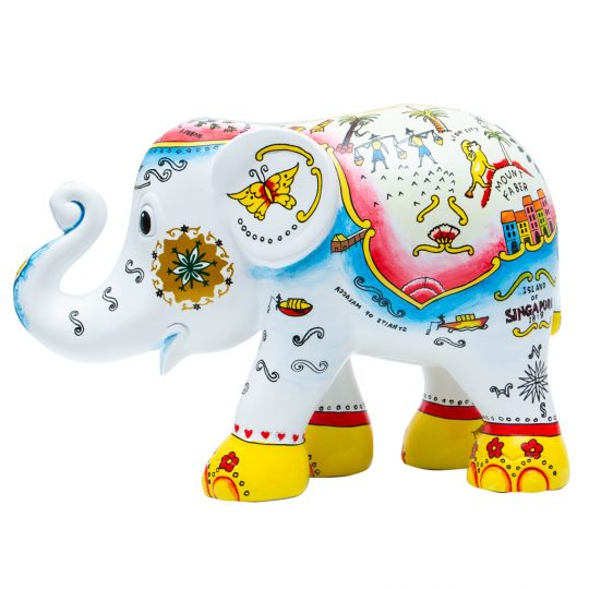 Raffles Landing #2 Elephant Parade - 30 cm high - get the perfect Singapore leaving gift at The Cinnamon Room