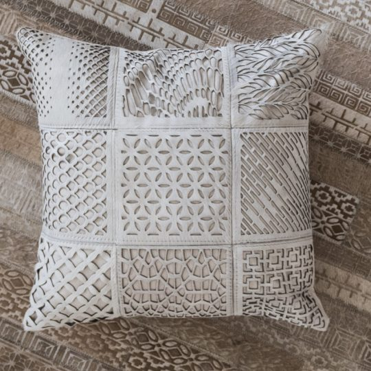 Neutral White Etched Cushion Cover - hide cushion covers by The Cinnamon Room