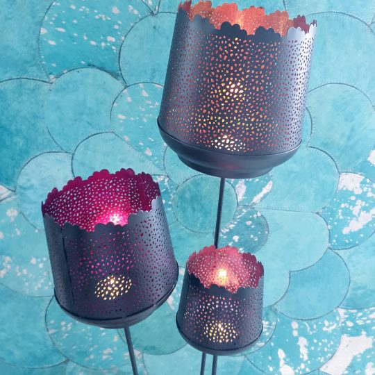 Spiked Candle Votive Set in Orange, Fuchsia & Coral Pink - unique tealight holders by The Cinnamon Room