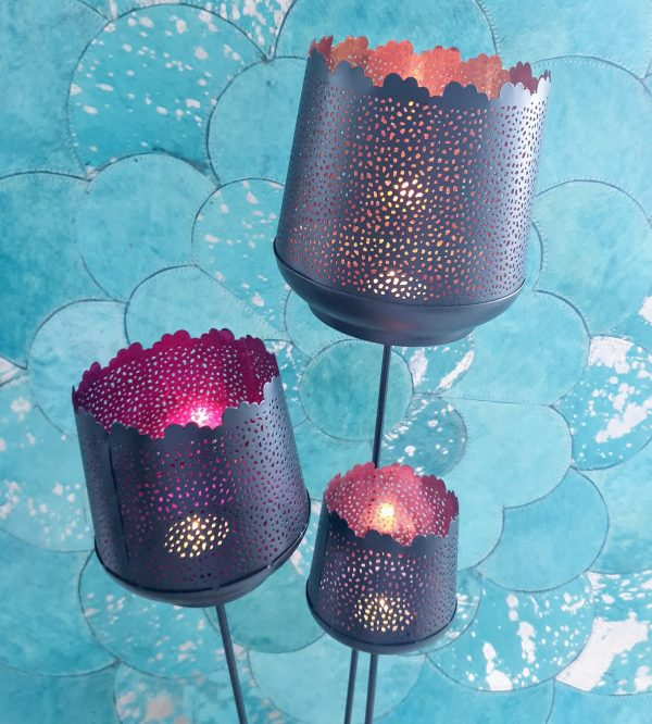 Spiked Candle Votive Set Orange Fuchsia Coral Pink The Cinnamon Room